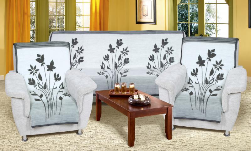 Přehozy na sedačku květy šedé