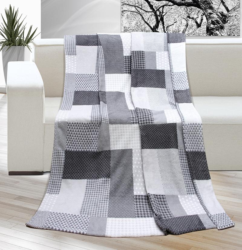 Kemping deka šedá kostka